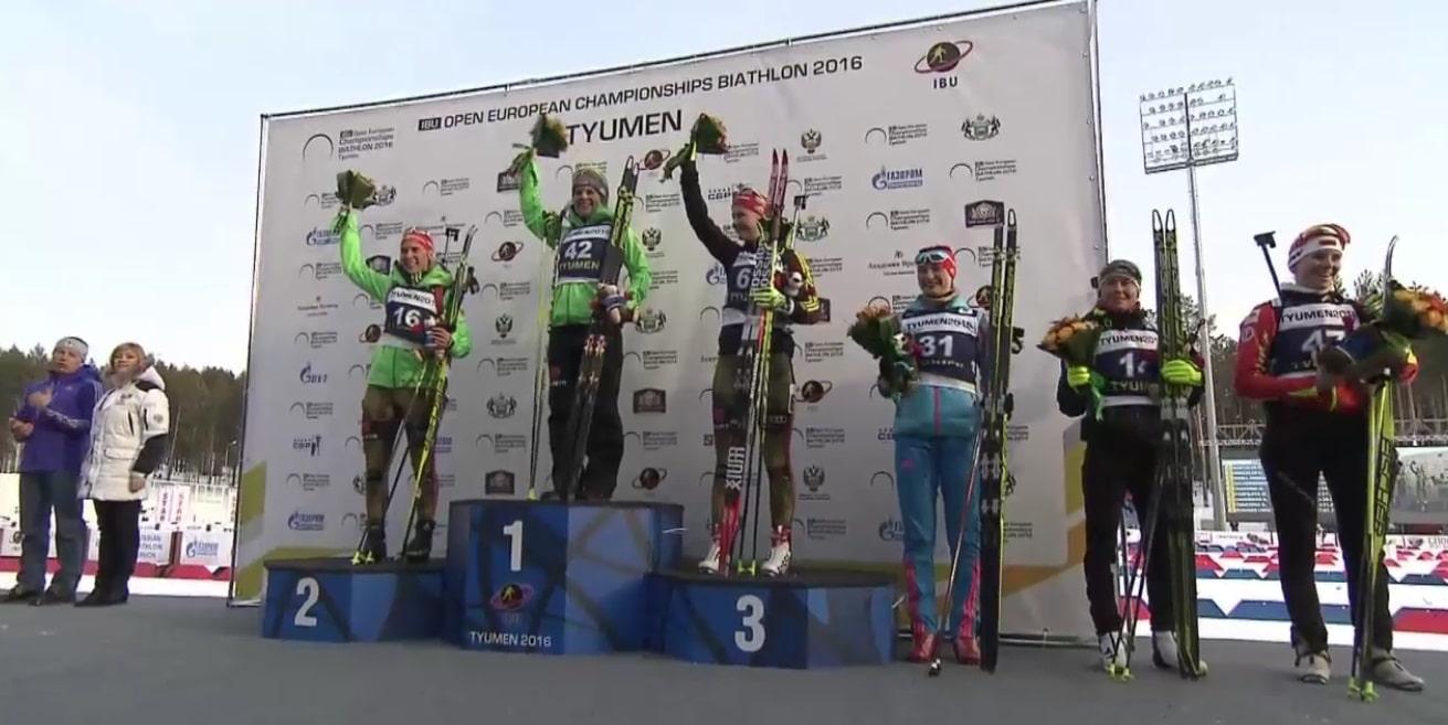 Siegerehrung - Biathletin Nadine Horchler ist Europameisterin im Sprint