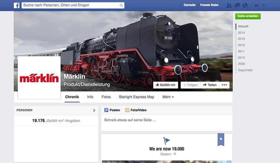 maerklin screenshot fb - New social media strategy at Märklin